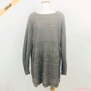 [Sundance] Brown Boat Neck Knit Long Tunic Sweater